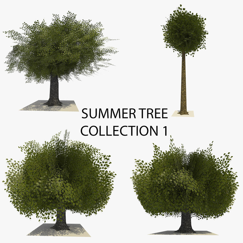 4 trees summer version 3d 3ds