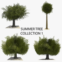 3d model 4 trees summer version