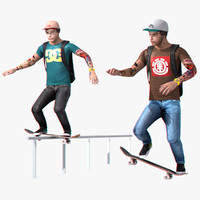 3d skater character rigged set