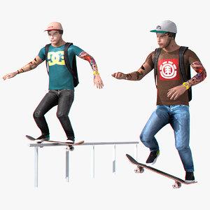 3d skater character rigged set
