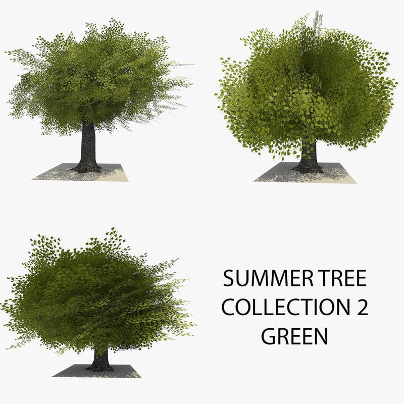 3d model 3 trees summer version