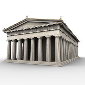 doric order greek temple 3d obj