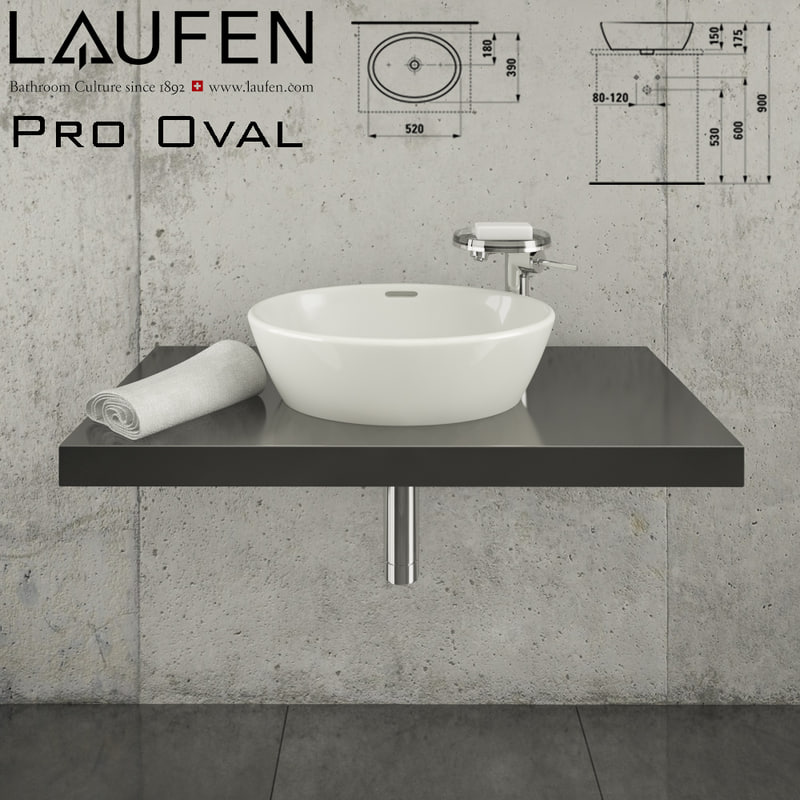 3d model of laufen pro oval 812964