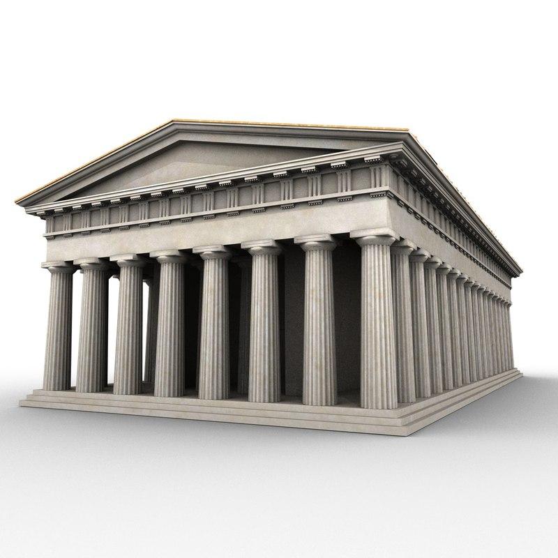 doric order greek temple 3d model