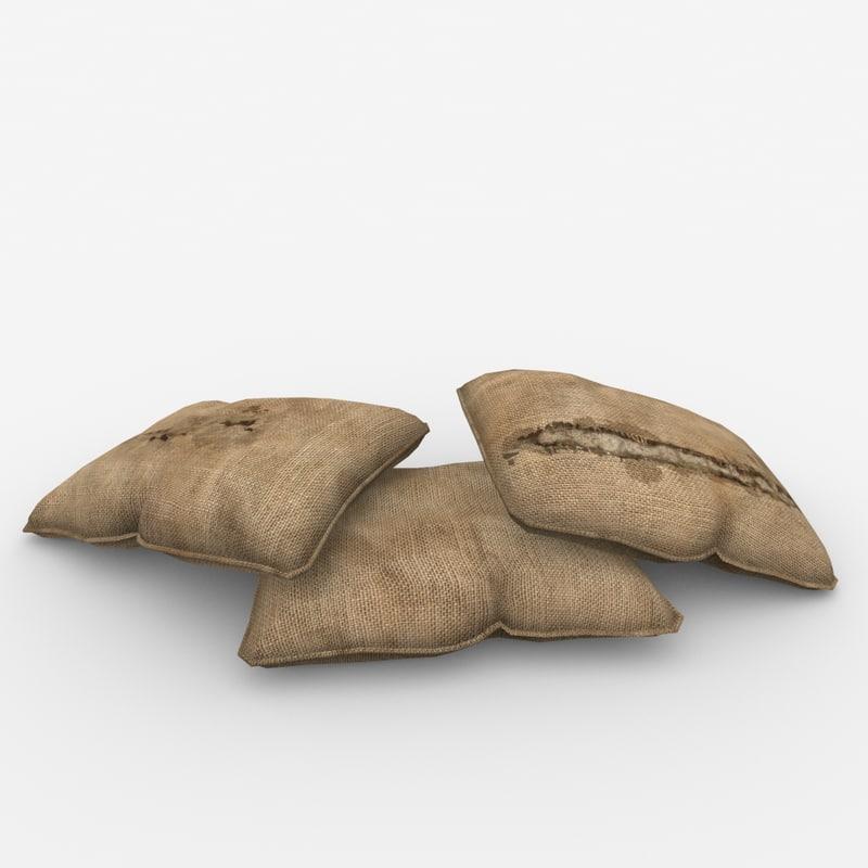 3d sand bags model