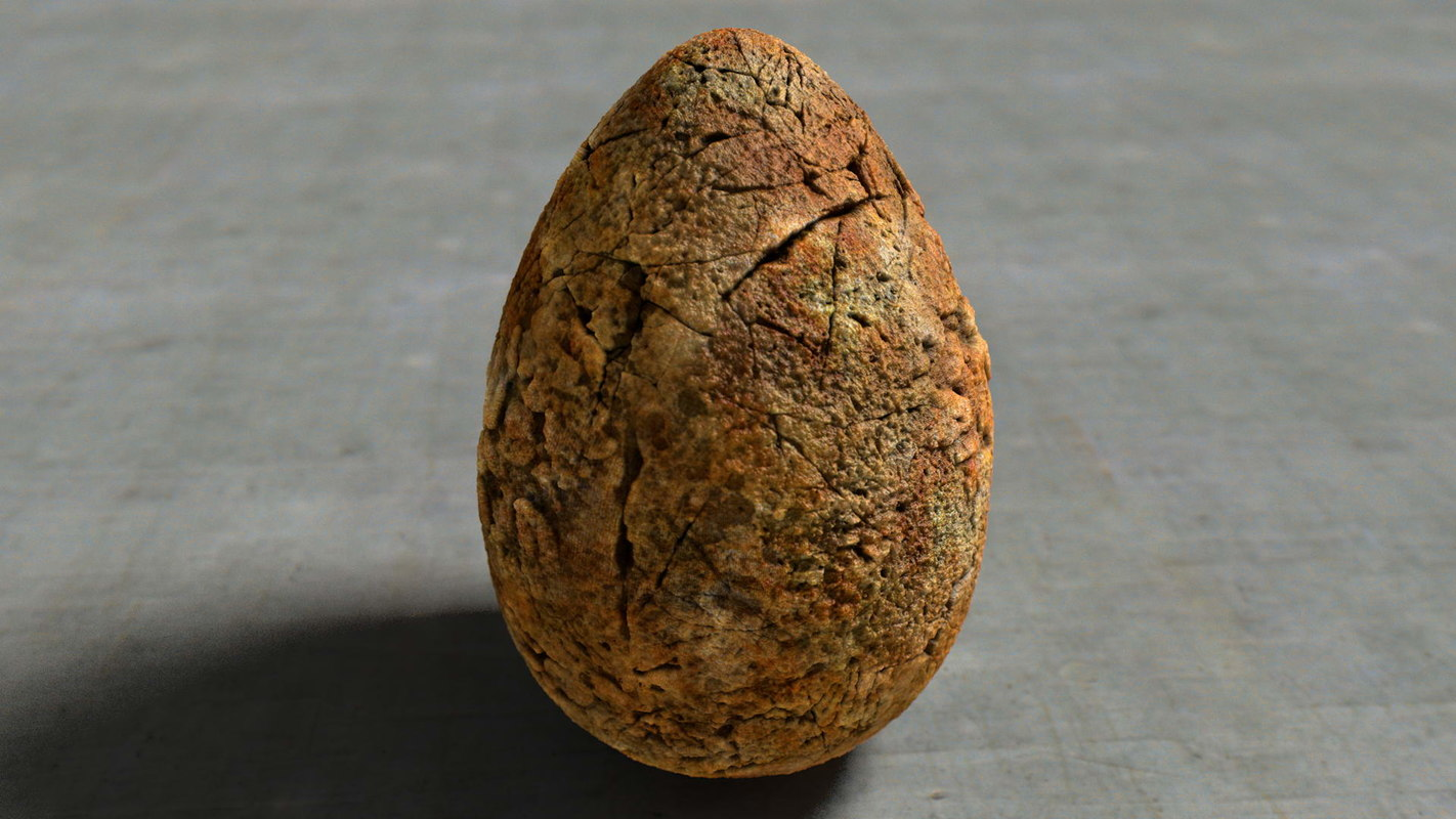 3ds max fossile scratched stone egg