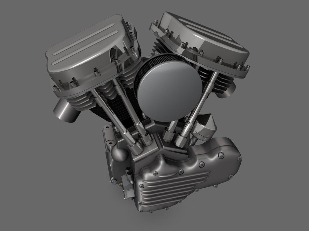 3d harley panhead motor motorcycle model