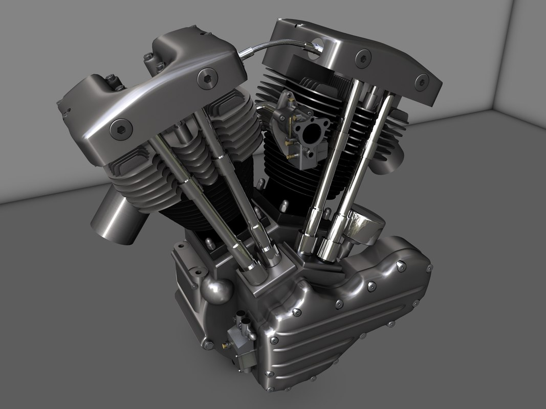 shovelhead motor motorcycle 3d model
