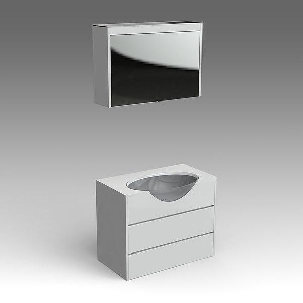 3d model glass wash-basin cabinets