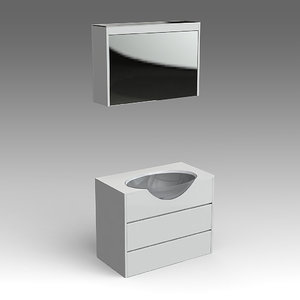 3d model glass wash-basin cabinets