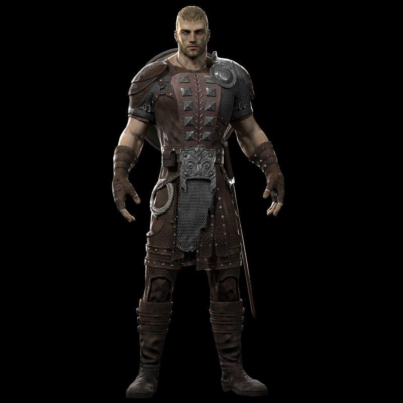 warrior man rigged 3d max