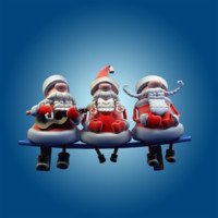 Three Singing Santa