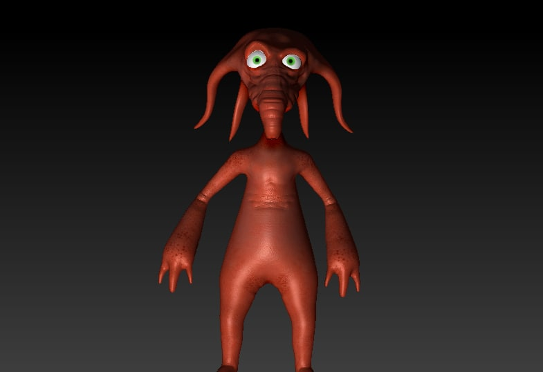 orange-brown alien 3d max