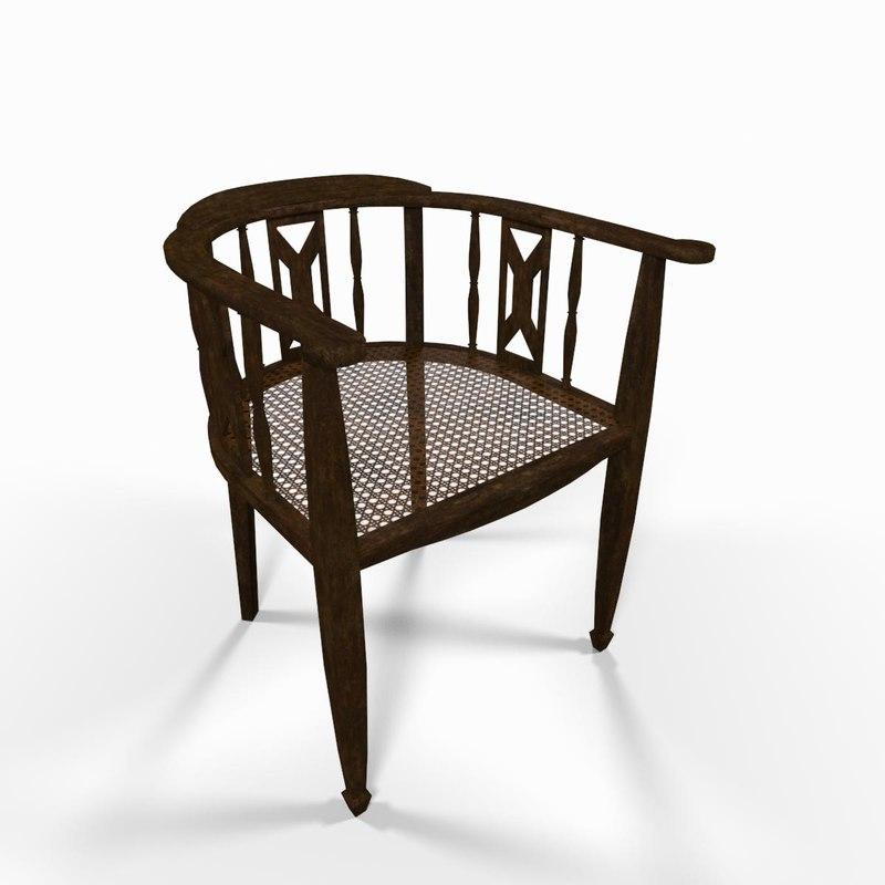 vintage wooden armchair seat chair 3d model