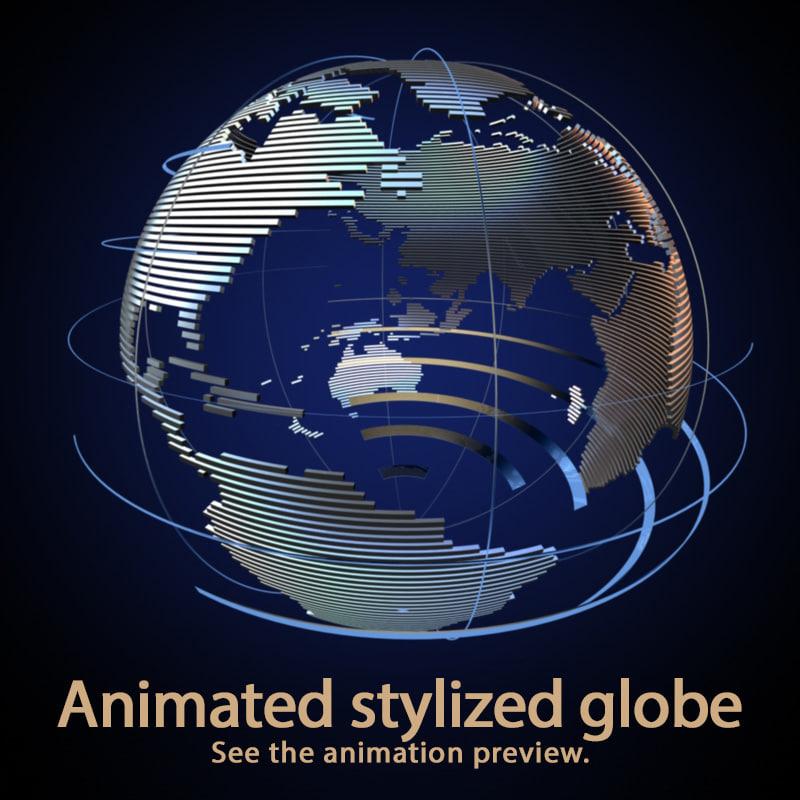 3d c4d stylized globe animation