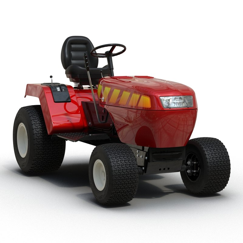 3d model of small tractor rigged modeled