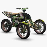ready apocalyptic trike motorcycle 3d model