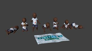 3ds max babies static poses boy