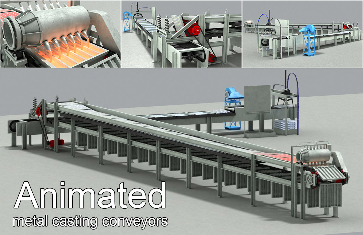metal casting conveyors machine animation 3d model