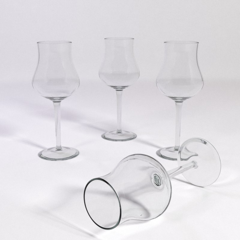 3d model white wine glass small
