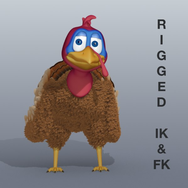 3d turkey character rigged