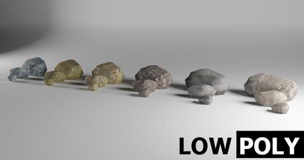 3d set stones model