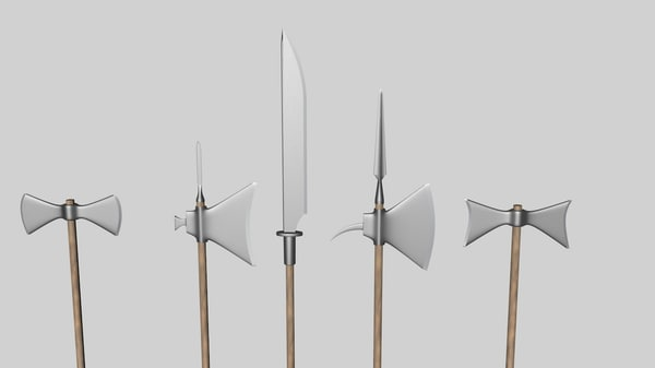 3d model glaive axes halberds