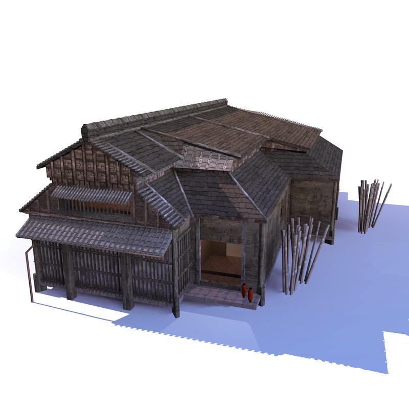 3d model old-style japanese house