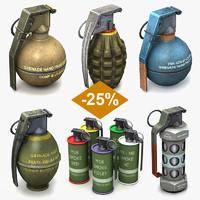 3d set grenades model
