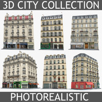 Photorealistic European Buildings City Set 4