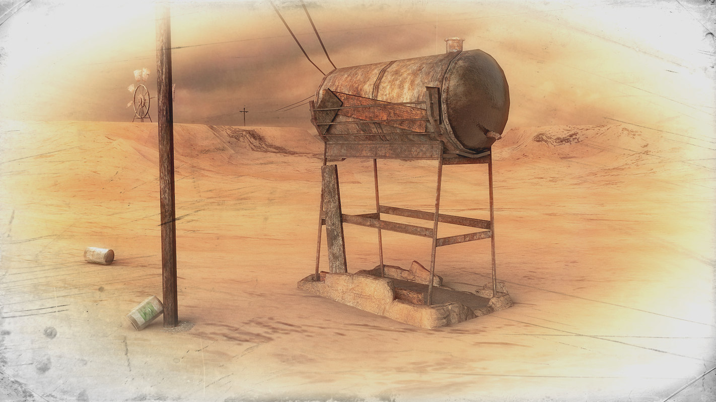 3d old rusty water tank model