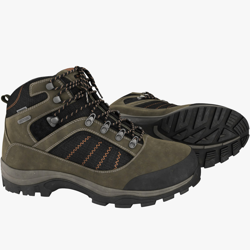 realistic hiking boots 3d max