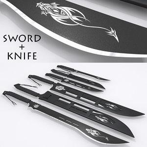 sword knife 3d model