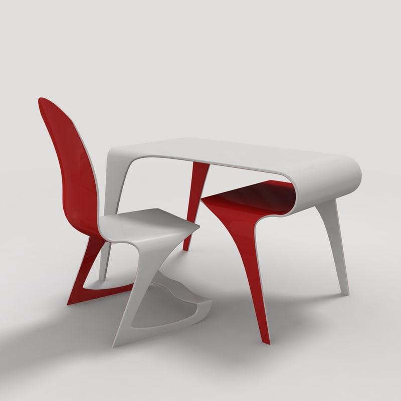 futuristic table chair 3d obj