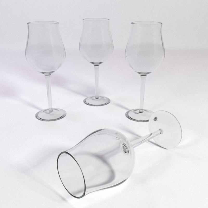 white wine glass tulip 3d 3ds