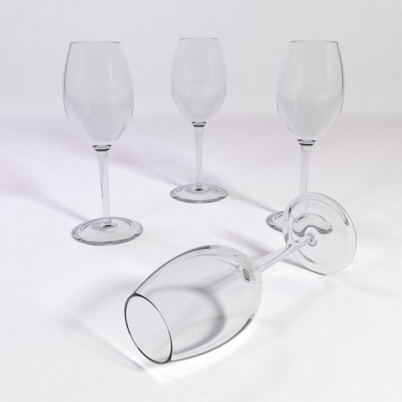 white wine glass sauternes 3d model