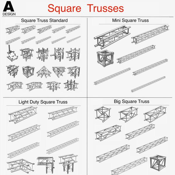 3d square light trusses 50