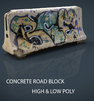 concrete road block 3d model