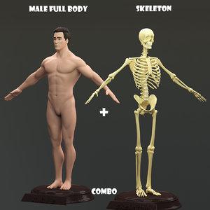 male body skeleton obj