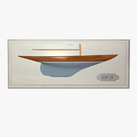 decorative half hull sailboat 3d model