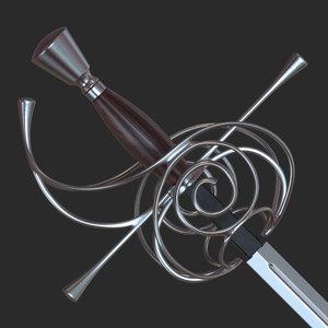 3d rapier sword model