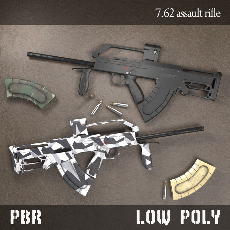 3d low-poly assault rifle pbr model