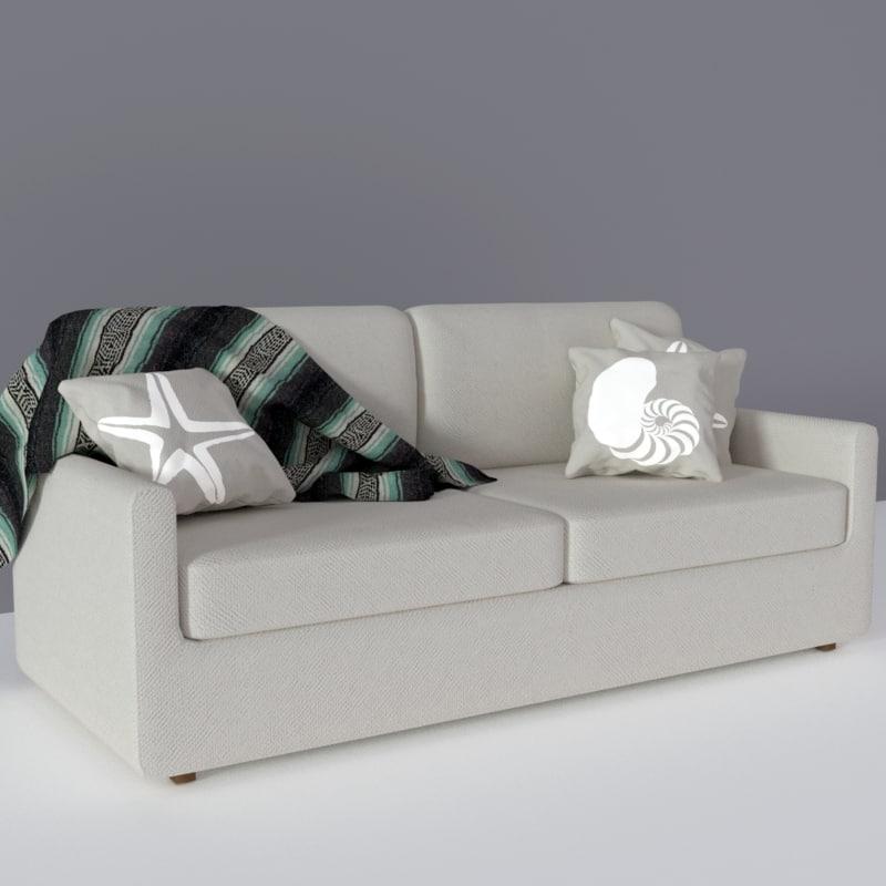 small couch beach obj