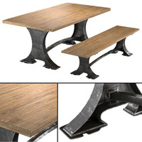 3d roberto dining table bench model