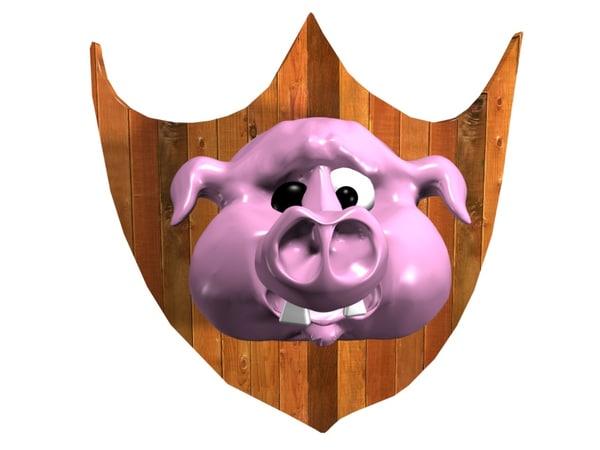 pork sign pig wooden 3d model