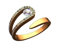 Snake solitaire diamond ring