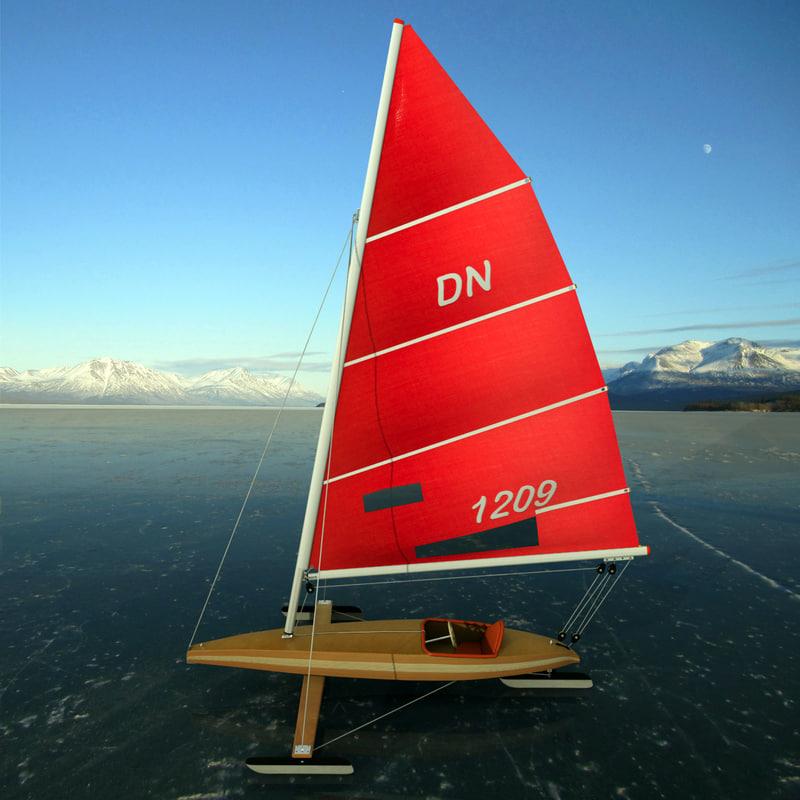 3d iceboat boat sail model