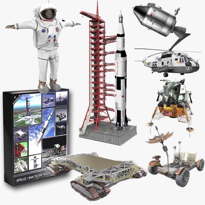 3d explore apollo moon saturn rocket model