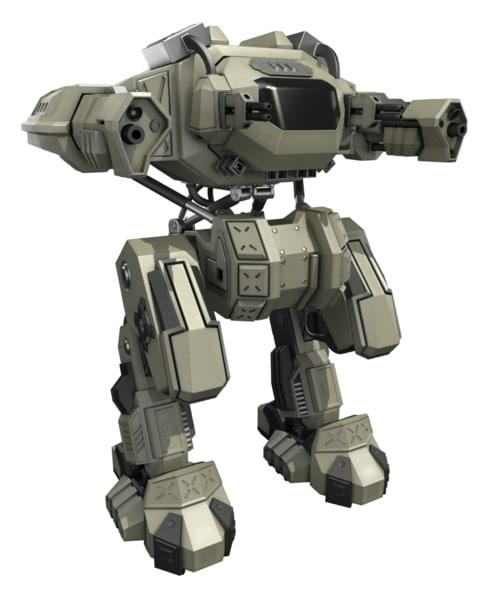 rigged battle mech 3d model