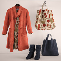 red coat and bags, boots